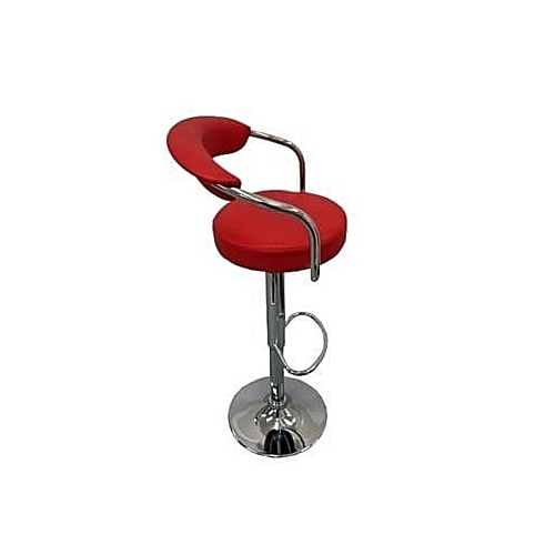 Chrome Bar Stool With Backrest - Red