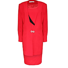 Distinctive Black And Red Ladies Dress Suit