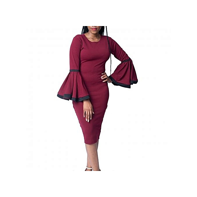 f93c86f39394 Virtue Clothier Yetunde Bell Sleeve Dress - Wine