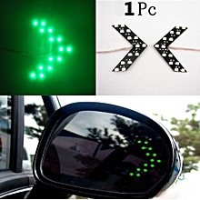 1X Arrow Indicator 14SMD LED Car Rearview Mirror Turn Signal Lights Green