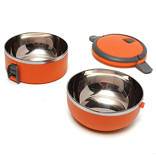 Stainless Steel Portable Insulation Thermal Lunch Box Food Container Handle Orange