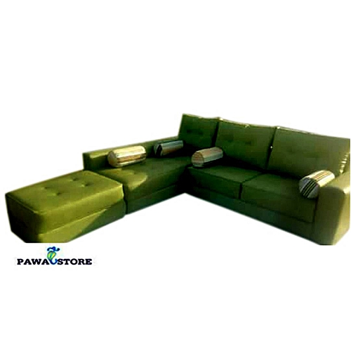 PAWA FURNITURE SPECIAL GREEN 5 Seater With 2 Seater Extension L-Shaped Fabric Sofa. 'ORDER NOW AND GET FREE OTTOMAN' (Delivery To Lagos Only)