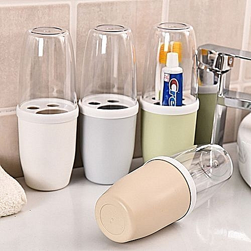 Toothpaste & Toothbrush Holder With Transparent Lid