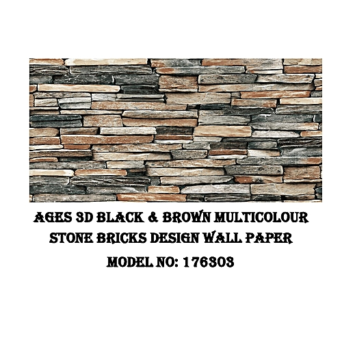 3D PVC Black/Brown Multi-color Wall Paper