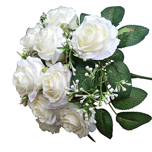 Bridal Bouquet Artificial Flowers Perfect 1 Bunch 12 Branches Festival Handmade Simulation Roses Bride Gift