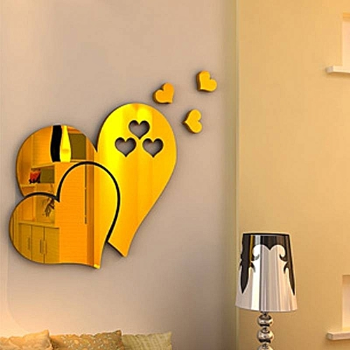 3D DIY Heart Mirror Wall Stickers Acrylic Home Decoration