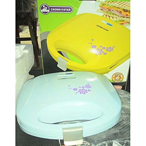 2 Slice Sandwich Maker (non - Stick Coated Plates) - Light Blue