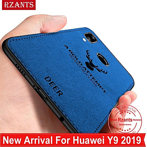 Rzants For Huawei Y9 2019 Case Shockproof Rugged [elk] Slim Hybrid Hard Cover Phone Casing With Linen Cloth Fabric Design Canvas Stripe Leather Protective Men