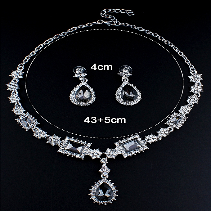7f3f9ad2aec Fashion Luxury Female Jewelry Set Silver Color Necklace Earrings Sets  Wedding Jewelry Set Grey Jewellery