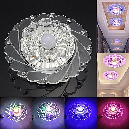 Modern 3W Crystal LED Ceiling Down Light Fixture Aisle Hallway Lamp Chandelier Pure White Blue