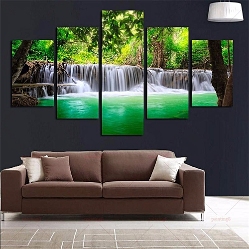 5Pcs Waterfall Landscape Abstract Canvas Painting Modern Home Decor Unframed