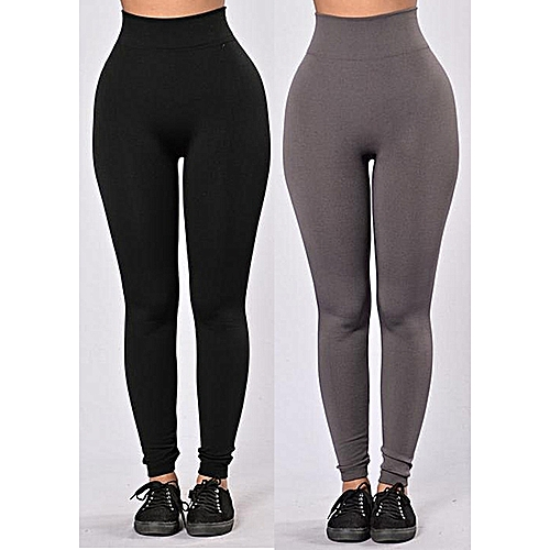 2 In 1 High Waist Slimming Leggings - Black & Grey