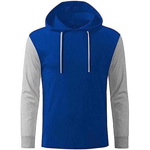 Long Sleeve Hoodie - Blue & Grey
