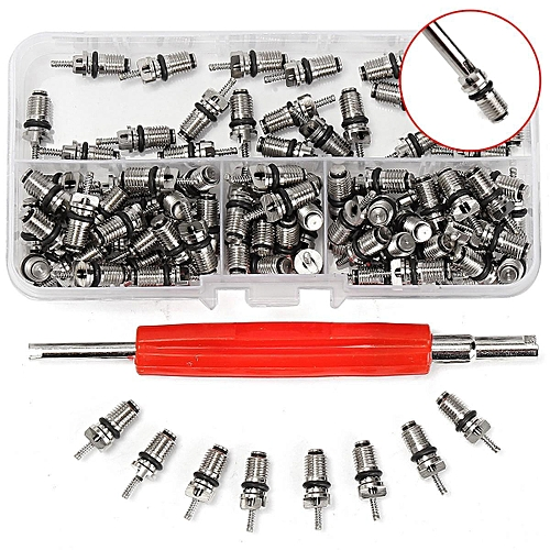 100pcs Core + 1 Key Auto Air Conditioning Repair Tool For R134A Valve Core HVAC