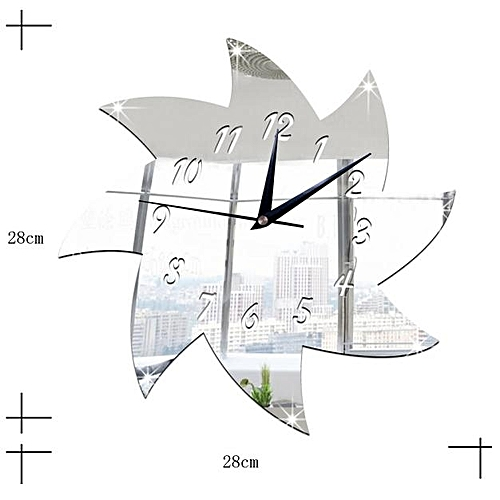 Dtrestocy Windmill Mirror Silver Wall Clock Modern Design Home Decor Watch Wall Sticker