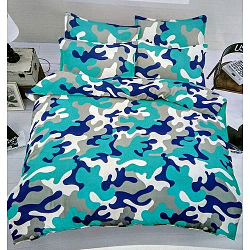 Bedsheet With 4 Pillow Cases - Blue Camo