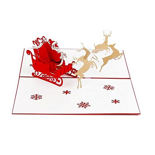 Christnas 3D Deer Car Card Pop Up Handcrafted Greeting Cards For Festival