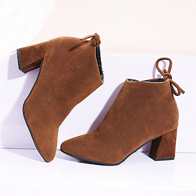 bf2364e4ca Women's Boots Square Heel Lace Up Ankle Boots Martin High Heels Platform  Boots