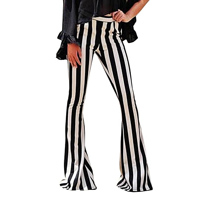 01075eaf55e61 2018   39 s Bell Bottoms Flare Trousers High Waist Stretch Wide Leg Striped