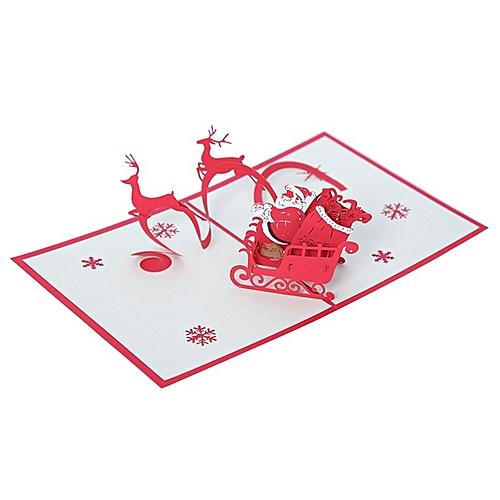 Christnas 3D Pop Up Dancing Elk Santa's Merry Series Invitation Greeting Cards