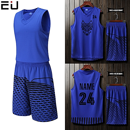 Eufy Blank Customized Casual Men's Basketball Team Sport Jersey Uniform-Blue(3052)