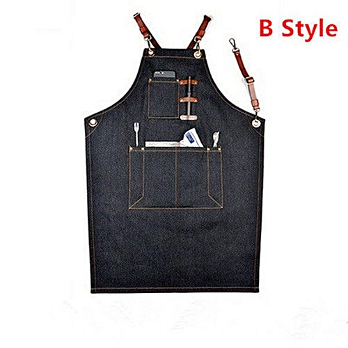 (photo)Denim Bib Apron Leather Strap Barista Baker Work Uniform Bartender BBQ Chef Cook