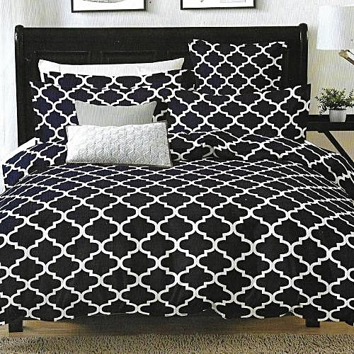 Bedsheet With Pillow Cases: Black With Simple White Designs