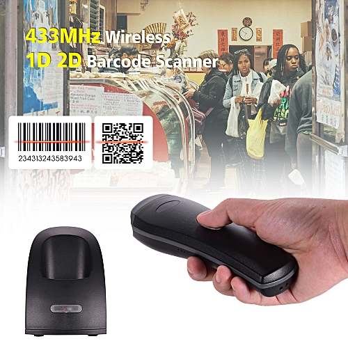 Handhold 433MHz Wireless 1D 2D Image Barcode Scanner With USB Cradle Receiver Charging Base Long Transmission Distance Bar Code Reader For Mobile Payment Supermarket Store Computer Screen Scan