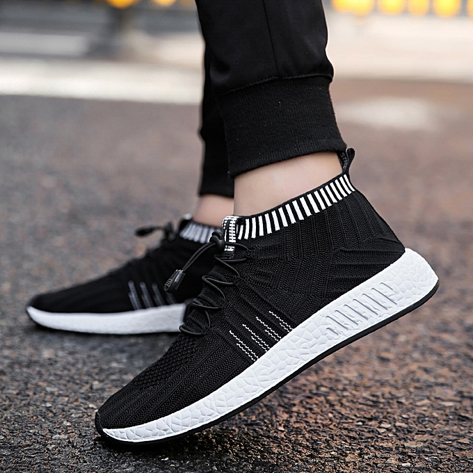 Fashion Men s High-Top Flyknit Sock Shoes Sneakers-Black White ... a6d7cab02355