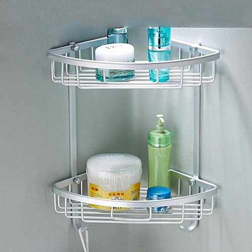2-Tier Space Aluminum Wall Mounted Corner Triangle Rack