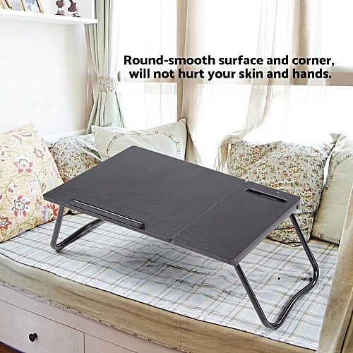 Black Willow Color Laptop Desk Table With Slot Portable Foldable For Bed Home-use