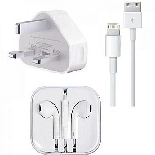 Iphone Charger & Earpiece 5&6 - White