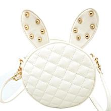 628e5195a5c3 Women Girl Rabbit Ear Round Leather Handbag Shoulder Messenger Bag White  -White