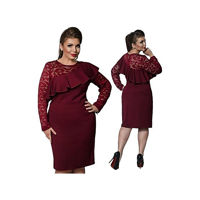 Fashion 6xl Large Size Ladies Dress Big Size Casual Lace Office