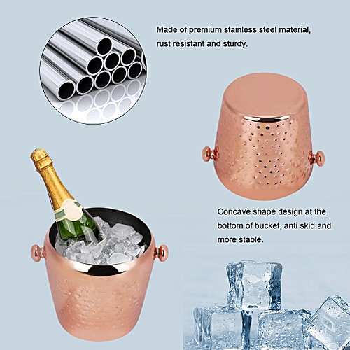 1L Stainless Steel Ice Bucket Ice Cube Container Bar Home Hotel Use