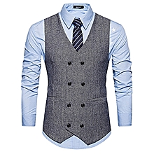 703ef2a51b7 HOT V Neck Double Breasted Belt Design Waistcoat - GRAY