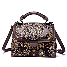 53fb1321e9 Cowhide Female Bag Top Layer Vintage Embossed Color One Shoulder Slung  Handbag