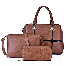 abffcf5cfd59 Exquisite 3 Set Women's Leather Fashion Handbag - Black