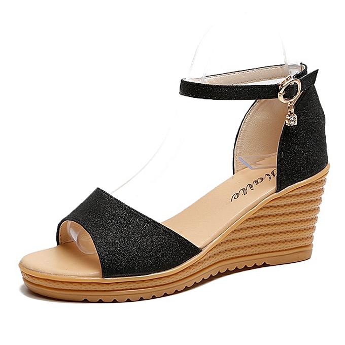 28f0e2c09 Ladies Wedge Sandals Classy Design Ankle Strap Fish Mouth Shoes - Black