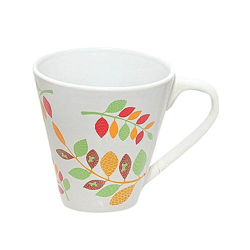 Laurel Leaf Design Mug - Orange/Green