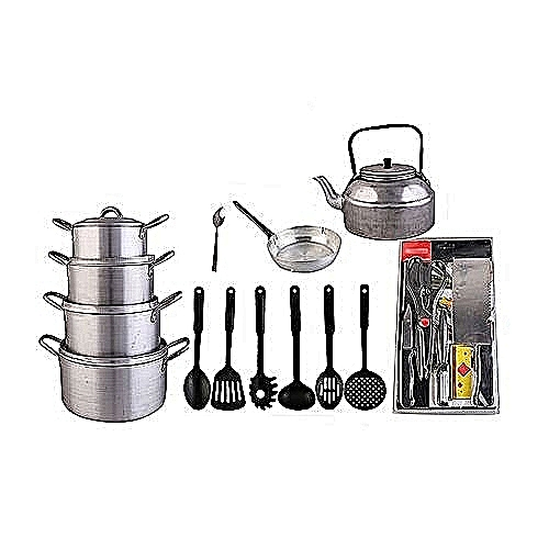 Cooking Pots, Kettle, Frying Pan, Non-stick Spoon Set, Knife Set & Tablespoon Set