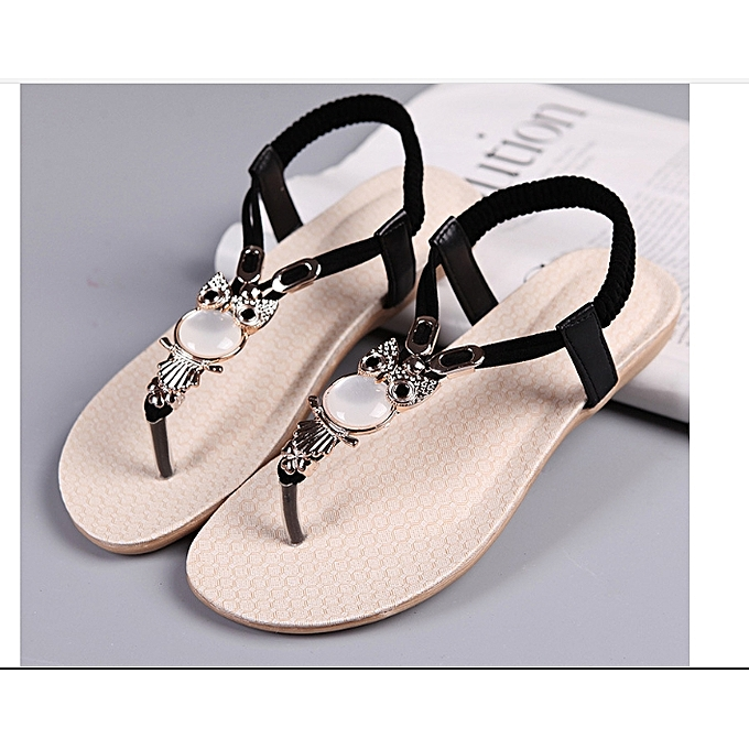 Women Lovely Sandals Fashion Shoes Black Flat Female Ladies Casual mNny0Ov8wP