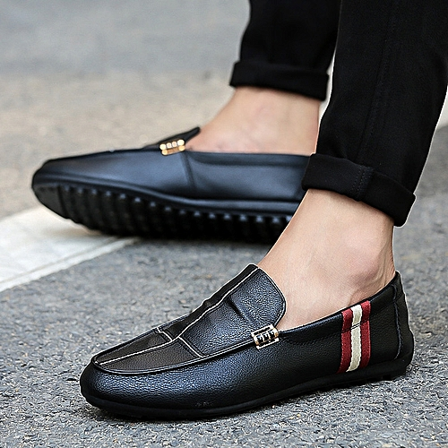 Fashion Comfortable Men's Casual Shoes Shoes Leather Loafers Shoes-Black