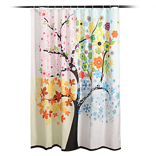 Waterproof Colorful Tree Pattern Bathroom Shower Curtain Floor Room With 12 Hook 150x180cm