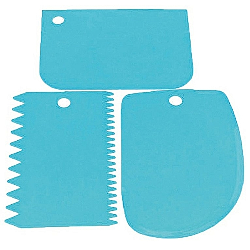 Irregular Teeth Edge Cream Scraper Baking Spatulas Reusable Cake Smoother Blue