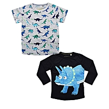 46413298ce57 Boys  039  Pack Of Two Dinosaur Prints Tops - White Blue