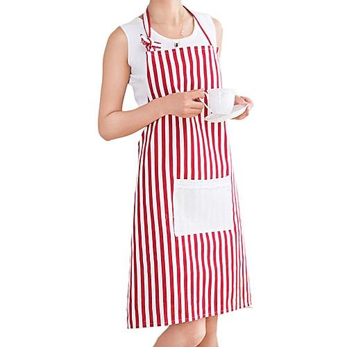 Honana KT-AP1 Adjustable Large Size Bib Apron Kitchen Cooking Woman Man Stripe Linen Apron With Pocket