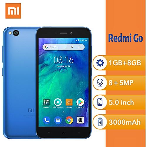 (Xiaomi) Redmi Go 5-Inch HD Qualcomm Quad-Core (1GB, 8GB ROM) Android 8.1 Oreo Go, 8MP + 5MP Dual SIM 4G Smartphone - Blue