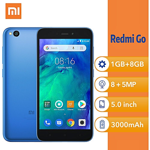 (Xiaomi) Redmi Go 5-Inch HD Qualcomm Quad-Core (1GB, 8GB ROM) Android 8.1 Oreo Go, 8MP + 5MP Dual SIM 4G Smartphone - Blue