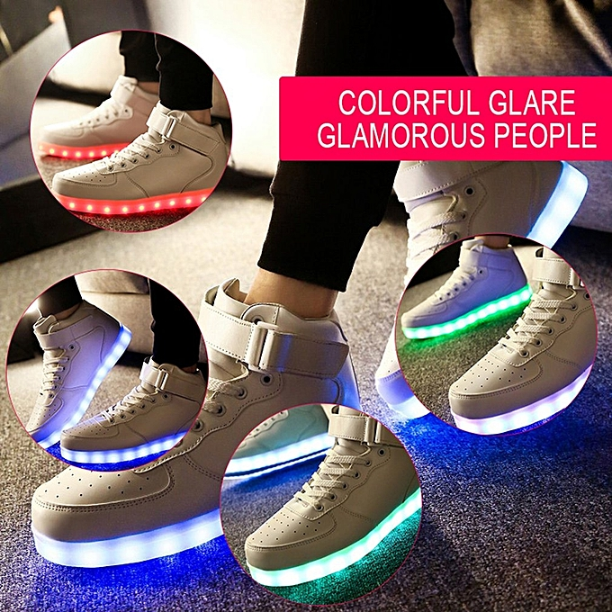 Men White LED Flashing Lighting Light Up Shoes USB Charge Lace-up Shoes 4028dead2b79